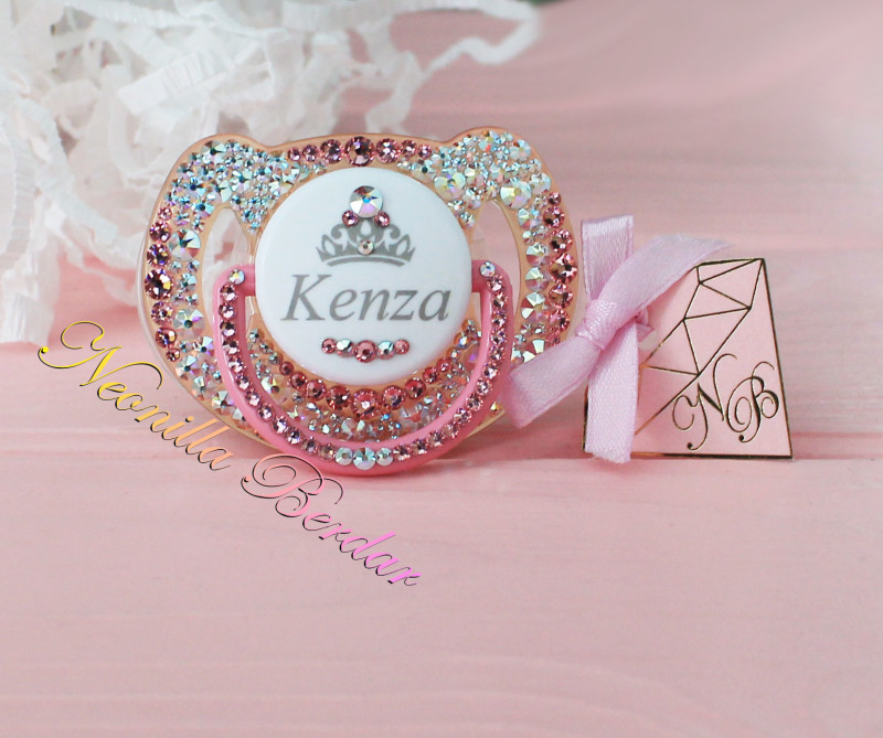 Personalized Chameleon+Pink Avent 6-18 month Pacifier with Swarovski Crystals. Bling Dummy