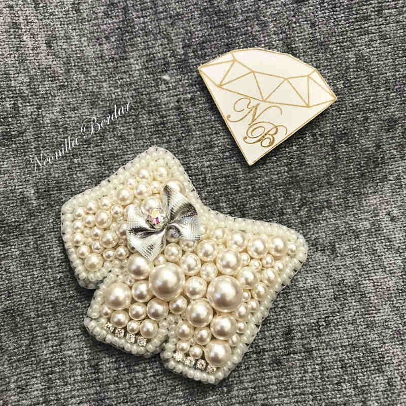 Beige Dog Brooch with Swarovski Crystals and Pearls