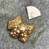 Golden Dog Brooch with Swarovski Crystals and Pearls