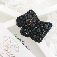 Black Dog Brooch with Swarovski Crystals and Pearls