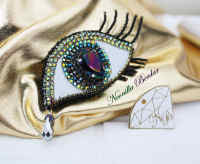 Eye Brooch with Swarovski Crystals and Pearls