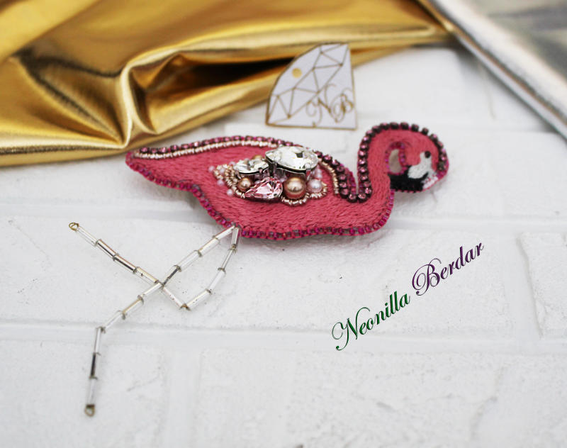 Coral Flamingo Brooch with Swarovski Crystals and Pearls