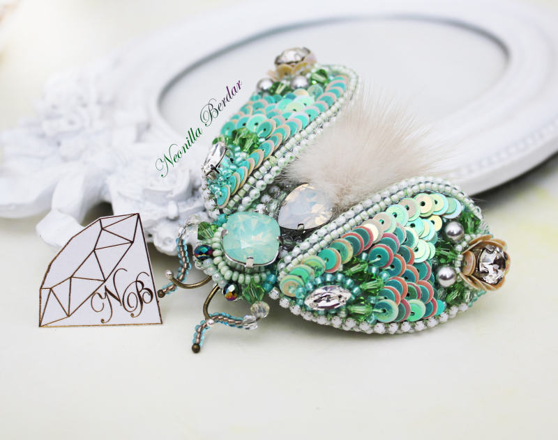 Green Cicada Brooch with Swarovski Crystals and Pearls