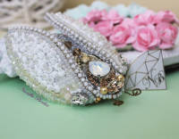 White Cicada Brooch with Swarovski Crystals and Pearls