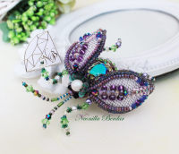 Purple Beetle Brooch with Swarovski Crystals and Pearls