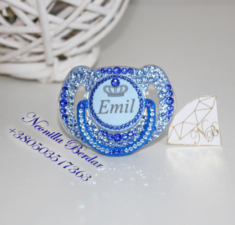 Personalized Blue Avent 6-18 month Pacifier with Swarovski Crystals. Bling Dummy