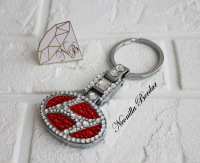 NEW Hyundai Premium Red keychain with Swarovski Crystals. Bling keychain