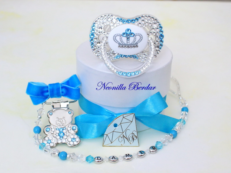 Set of Blue Crown Canpol Babies Pacifier and Pacifier Clip with Swarovski Crystals.