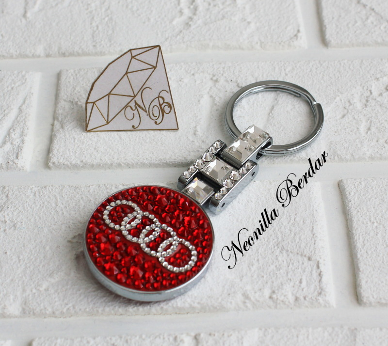 Audi Premium Red keychain with Swarovski Crystals. Bling keychain