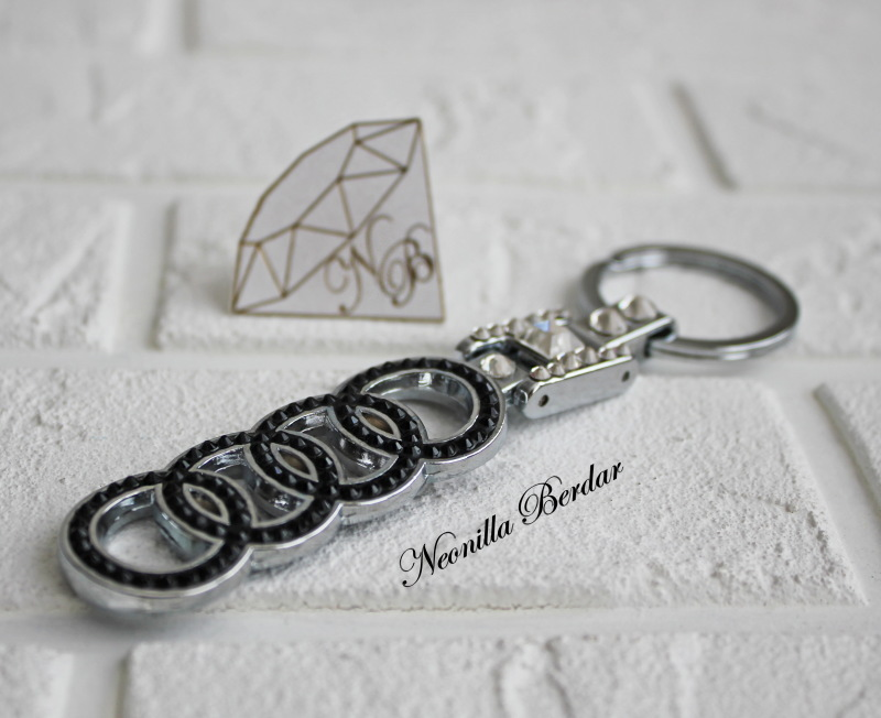 Audi Premium Long keychain with Swarovski Crystals. Bling keychain