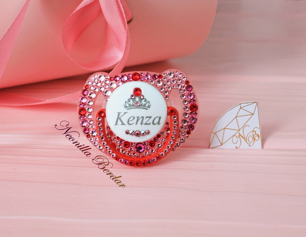 Personalized Red Avent 6-18 month Pacifier with Swarovski Crystals. Bling Dummy