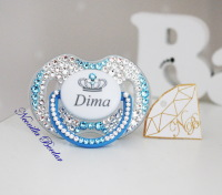 Personalized Crystal+Blue Avent 0-6 month Pacifier with Swarovski Crystals. Bling Dummy
