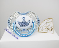 Crown Crystal+Blue Avent 0-6 month Pacifier with Swarovski Crystals. Bling Dummy