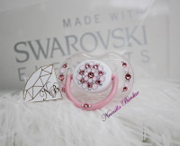 Pink Pearls Avent 0-6 month Pacifier with Swarovski Crystals. Bling Dummy