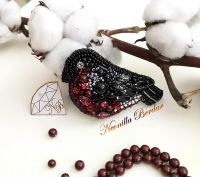 Bullfinch Brooch with Swarovski Crystals and Pearls