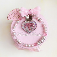 Pink Crown Pacifier Clip with Swarovski Crystals, Pearls and Beads. Bling Pacifier Clip. Dummy clip