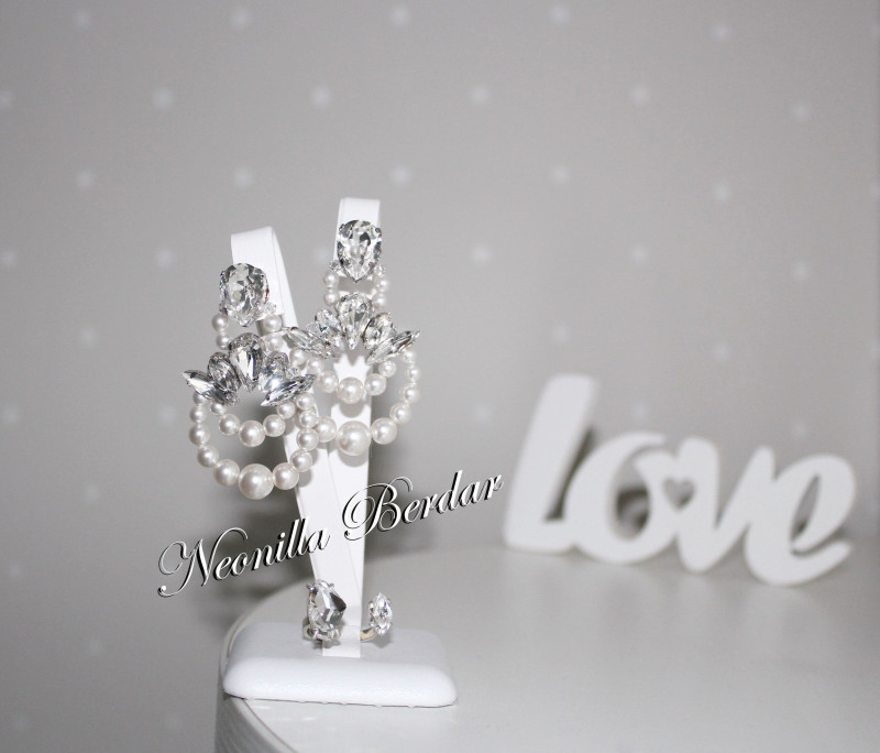 Bridal earrings with Swarovski Crystals and Pearls - Bridal jewelry -  Swarovski earrings - Crystal earrings