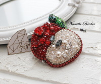 Apple Brooch with Swarovski pearls