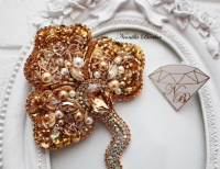 Golden Orchid Brooch with Swarovski pearls