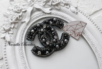 Fashion Black Brooch with Swarovski pearls