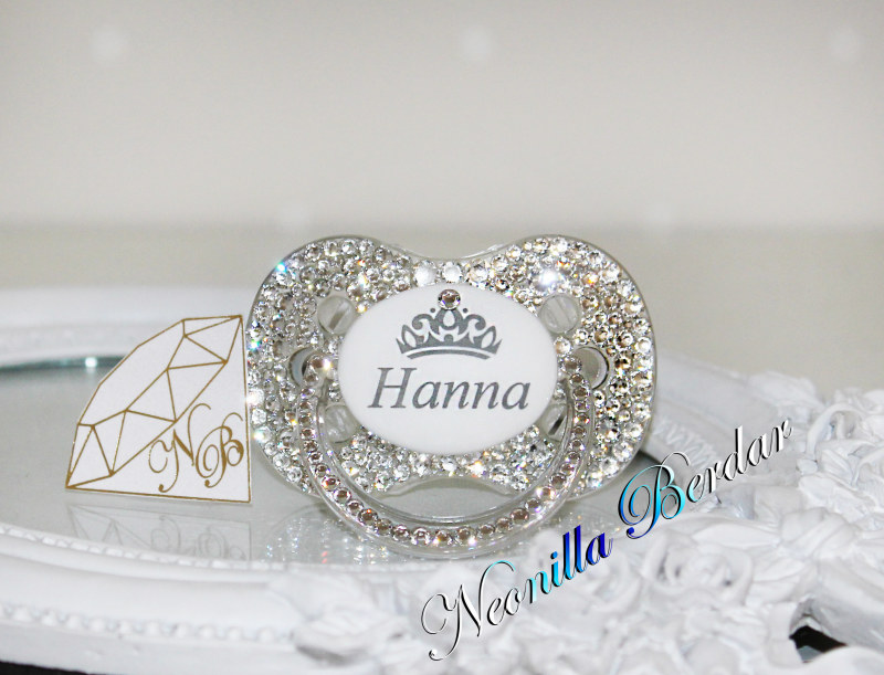 Personalized Crystal Canpol Babies Pacifier with Swarovski Crystals. Bling Dummy