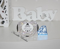 Personalized Crystal+Black Canpol Babies Pacifier with Swarovski Crystals. Bling Dummy