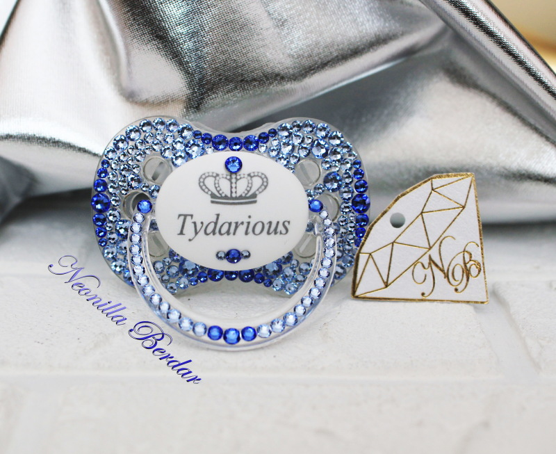 Personalized Blue Canpol Babies Pacifier with Swarovski Crystals. Bling Dummy