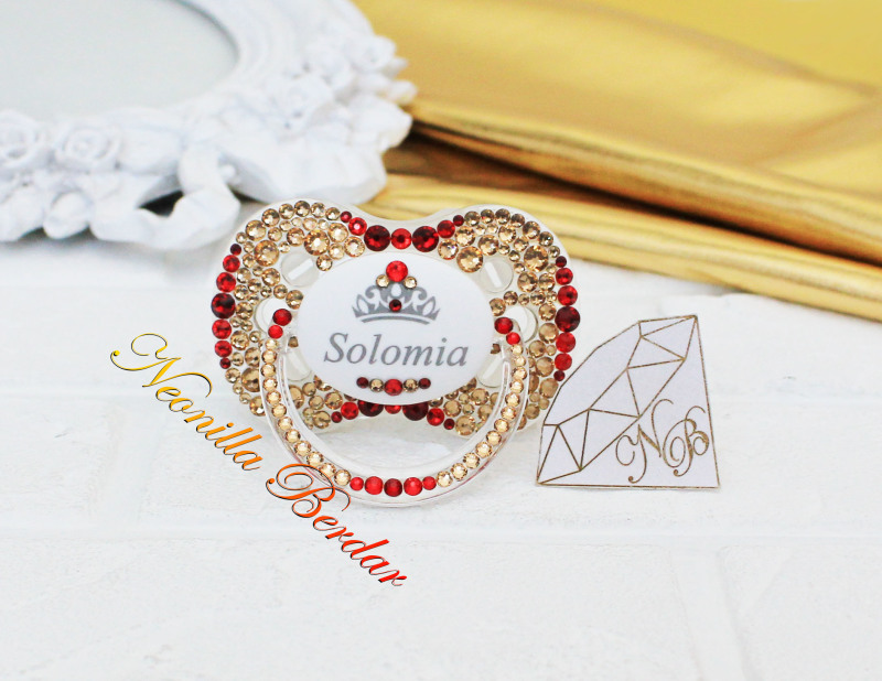 Personalized Golden+Red Canpol Babies Pacifier with Swarovski Crystals. Bling Dummy