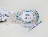 Personalized Crystal+Light Blue Canpol Babies Pacifier with Swarovski Crystals. Bling Dummy