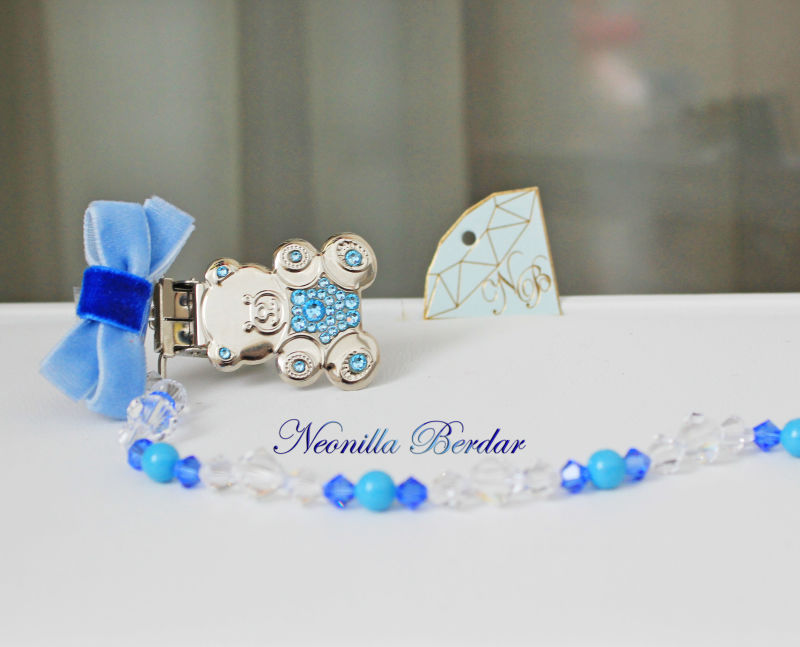 Blue Pacifier Clip with Swarovski Crystals and Beads. Teddy Bear Bling Pacifier Clip. Dummy clip
