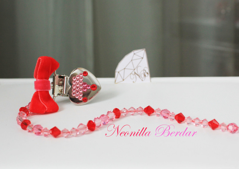 Red Pacifier Clip with Swarovski Crystals and Beads. Bling Pacifier Clip. Dummy clip
