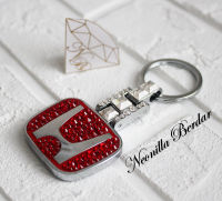 Honda Premium Red keychain with Swarovski Crystals. Bling keychain