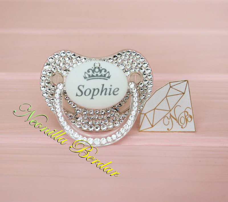 Personalized Crystal Canpol Babies Orthodontic Pacifier with Swarovski Crystals. Bling Dummy