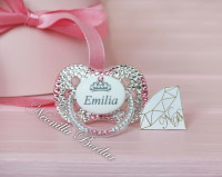 Personalized Crystal+Pink Canpol Babies Pacifier with Swarovski Crystals. Bling Dummy