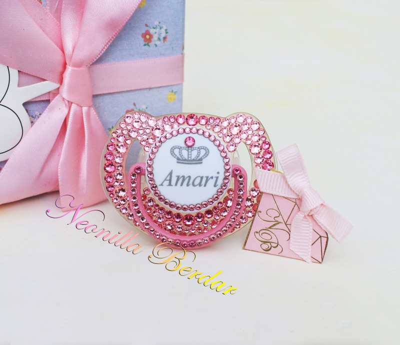 Personalized Pink Avent 6-18 month Pacifier with Swarovski Crystals. Bling Dummy