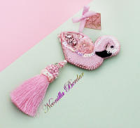 Pink Flamingo Brooch with Swarovski Crystals