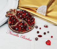 Pomegranate Brooch with Swarovski Crystals • Garnet brooch
