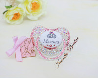 Personalized Chameleon+Pink Canpol Babies Orthodontic Pacifier with Swarovski Crystals. Bling Dummy