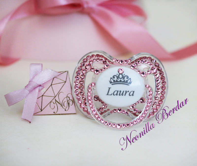 Personalized Pink Avent 0-6 month Pacifier with Swarovski Crystals. Bling Dummy