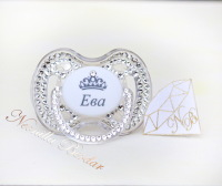 Personalized Clear Avent 0-6 month Pacifier with Swarovski Crystals. Bling Dummy