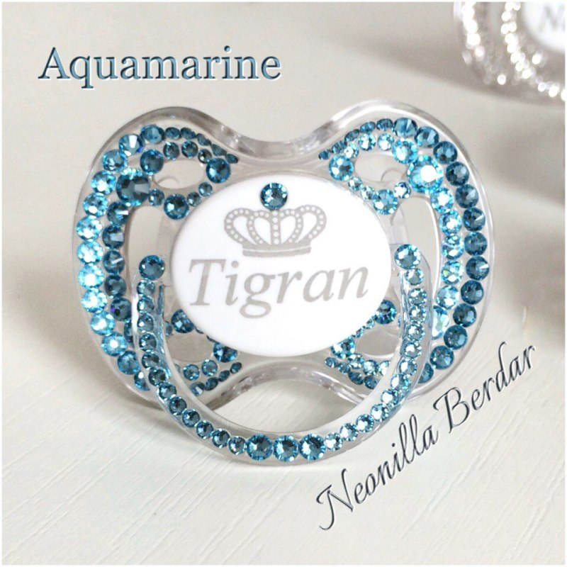 Personalized Blue Avent 0-6 month Pacifier with Swarovski Crystals. Bling Dummy