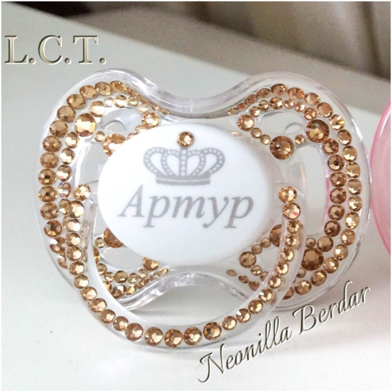 Personalized Golden Avent 0-6 month Pacifier with Swarovski Crystals. Bling Dummy