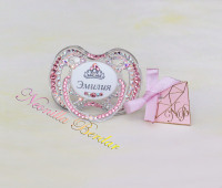 Personalized Chameleon+Pink Avent 0-6 month Pacifier with Swarovski Crystals. Bling Dummy