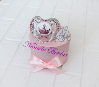Pink Crown Avent 0-6 month Pacifier with Swarovski Crystals. Bling Dummy