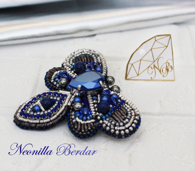Blue Cicada Brooch with Swarovski Crystals and Pearls