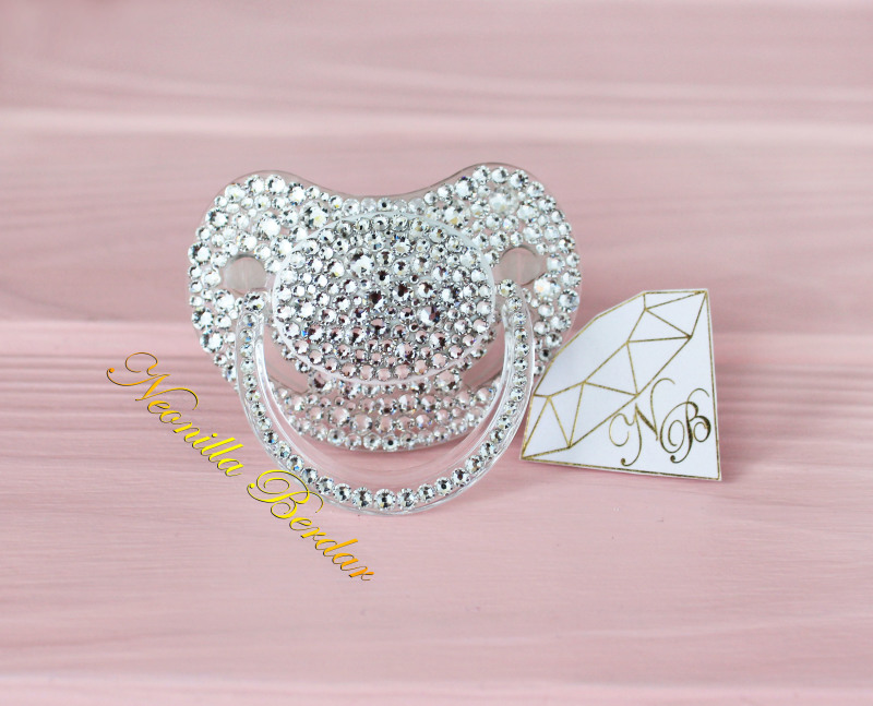 Bling Crystal Orthodontic Canpol Babies Pacifier with Swarovski Crystals. Bling Dummy