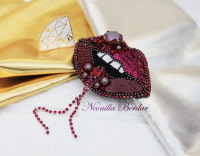 Purple Lips Brooch with Swarovski Crystals and Pearls