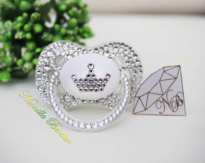 Crystal Crown Canpol Babies Pacifier with Swarovski Crystals. Bling Dummy