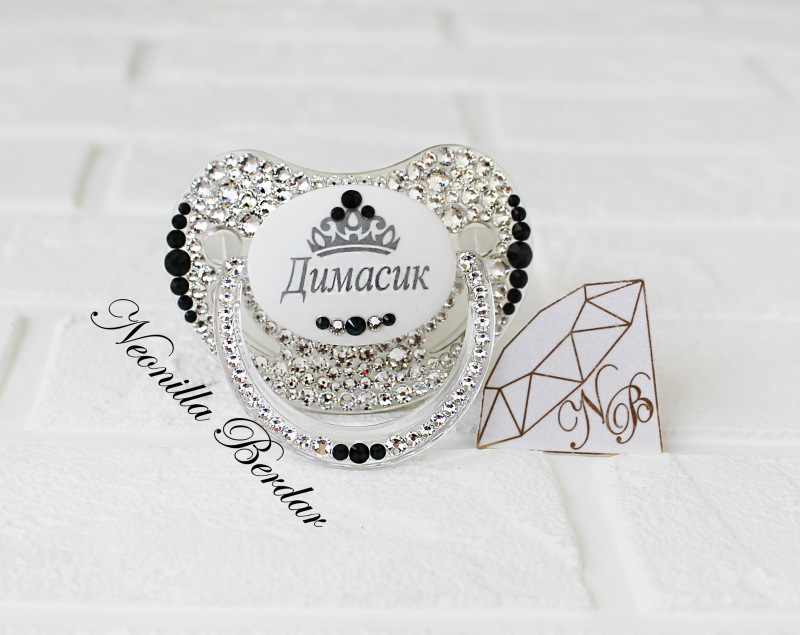 Personalized Crystal+Black Canpol Babies Orthodontic Pacifier with Swarovski Crystals. Bling Dummy