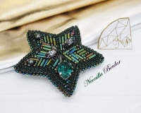 Green Star Brooch with Swarovski pearls
